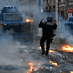 Viral Video Shows EU-branded Armoured Vehicle Crushing Paris Protests