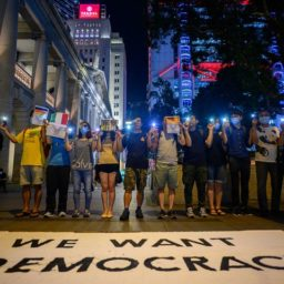 Hong Kong Protesters Form 28-Mile Human Chain